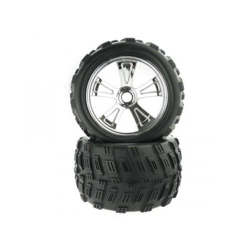 8E161 1:8 Chrome Rim &;amp; Tire Complete For Monster Truck 2P