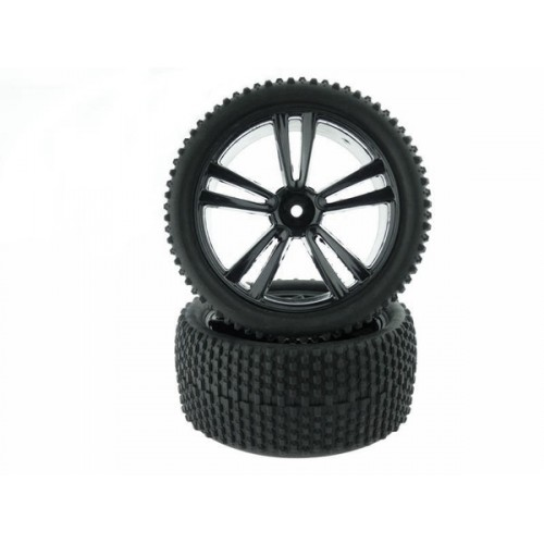 1:10 Black Buggy Rear Tires and Rims(31212B+31308) 2P