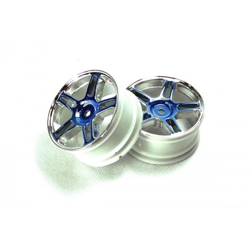 Blue Chrome Star Spoke Wheel Rims 2P