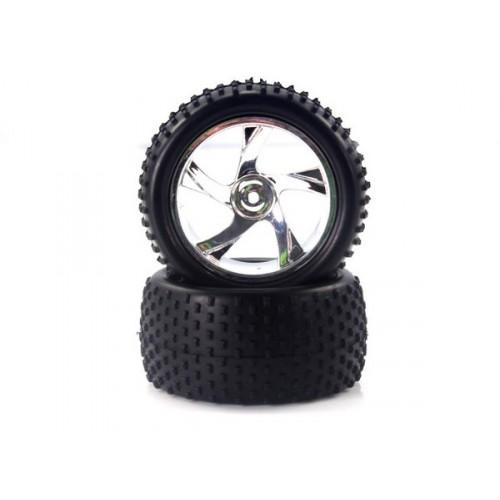 28653V 1:18 Tire And Chrome Rim For Truggy (23626v+28652) 2p