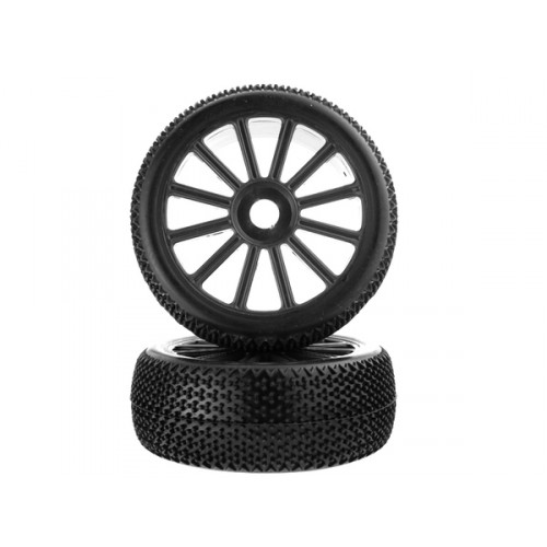 1:8 Black Rim &;amp; Tire Complete For Buggy (821001B+821002) 2P