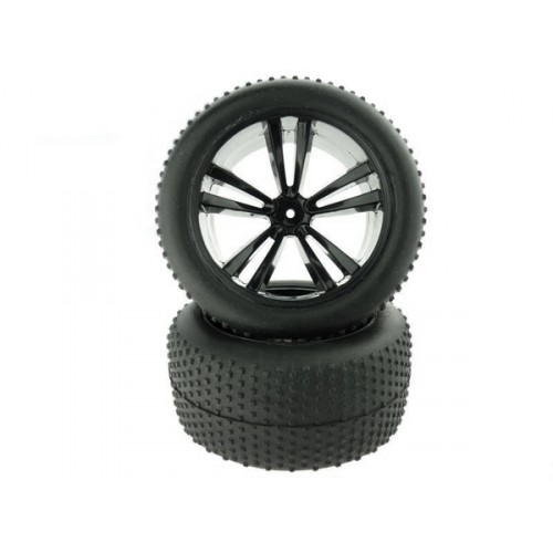 31504B 1:10 Black Truggy Tires and Rims 2P