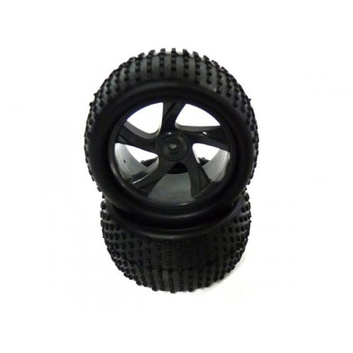 1:18 Tire and Black Rim for Truggy (23626B+28652) 2P