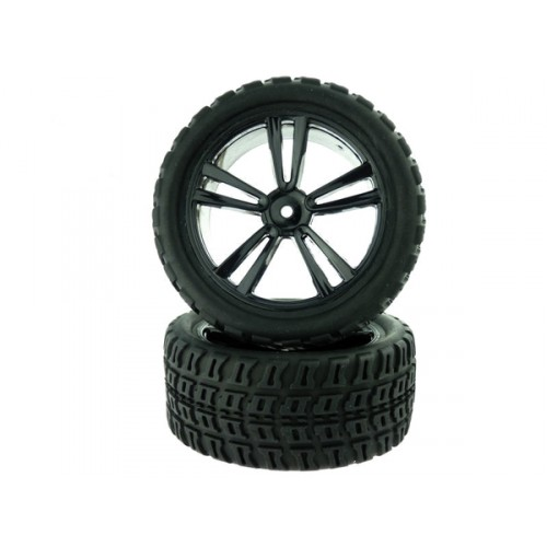 1:10 Black Short Course Rear Tires and Rims (31212B+31405) 2P