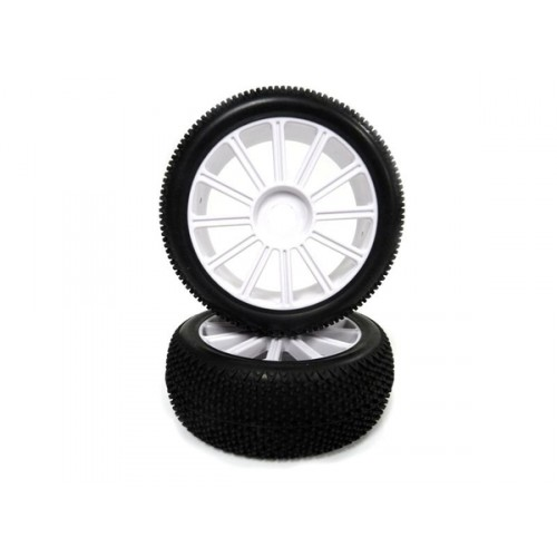 1:8 White Rim &;amp; Tire Complete For Buggy (821001W+821002) 2P